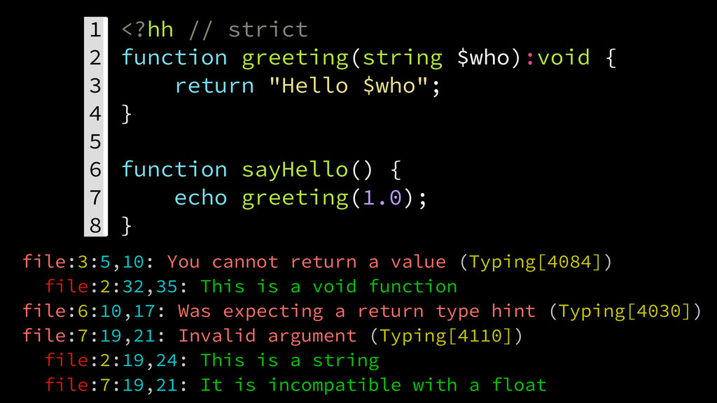1. <?hh // strict 2. function greeting(string $...