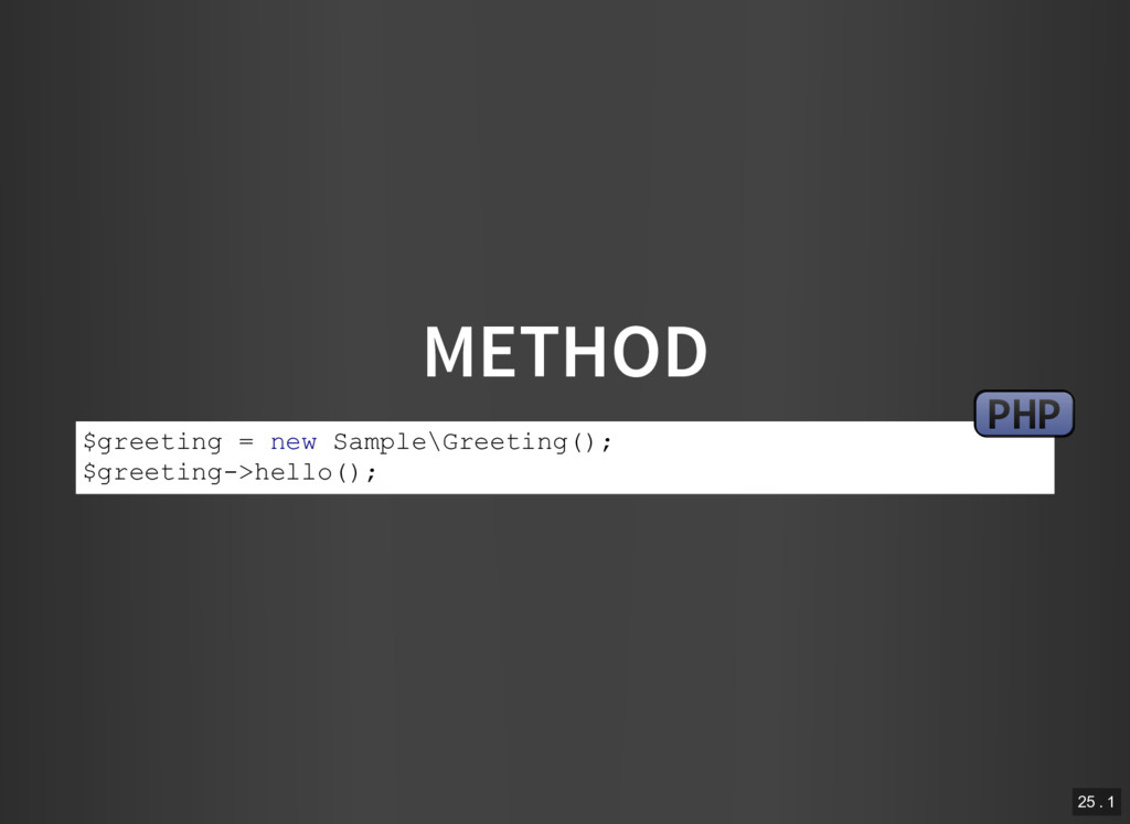 METHOD $greeting = new Sample\Greeting(); $gree...