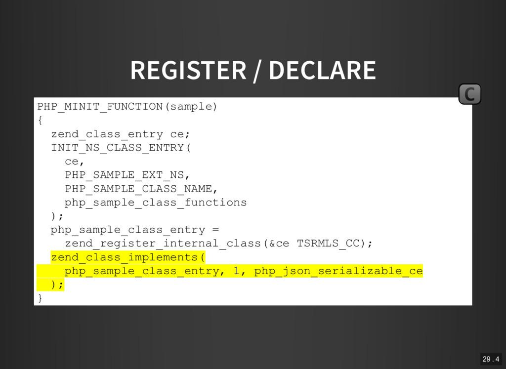 REGISTER / DECLARE PHP_MINIT_FUNCTION(sample) {...