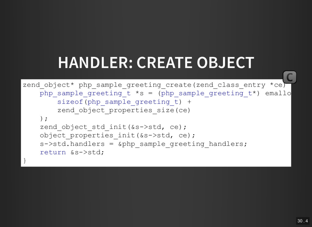 HANDLER: CREATE OBJECT zend_object* php_sample_...