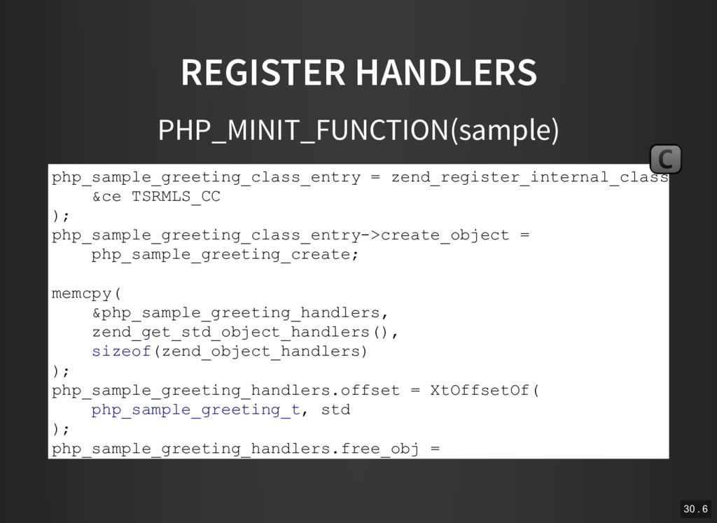 REGISTER HANDLERS PHP_MINIT_FUNCTION(sample) ph...