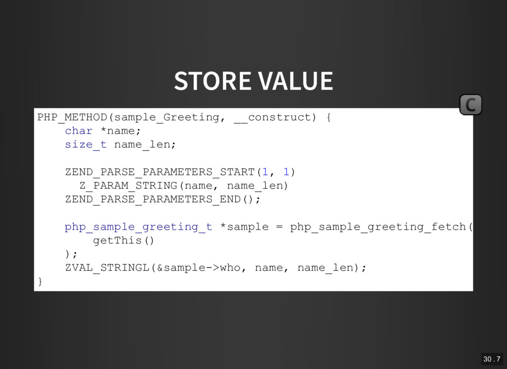 STORE VALUE PHP_METHOD(sample_Greeting, __const...