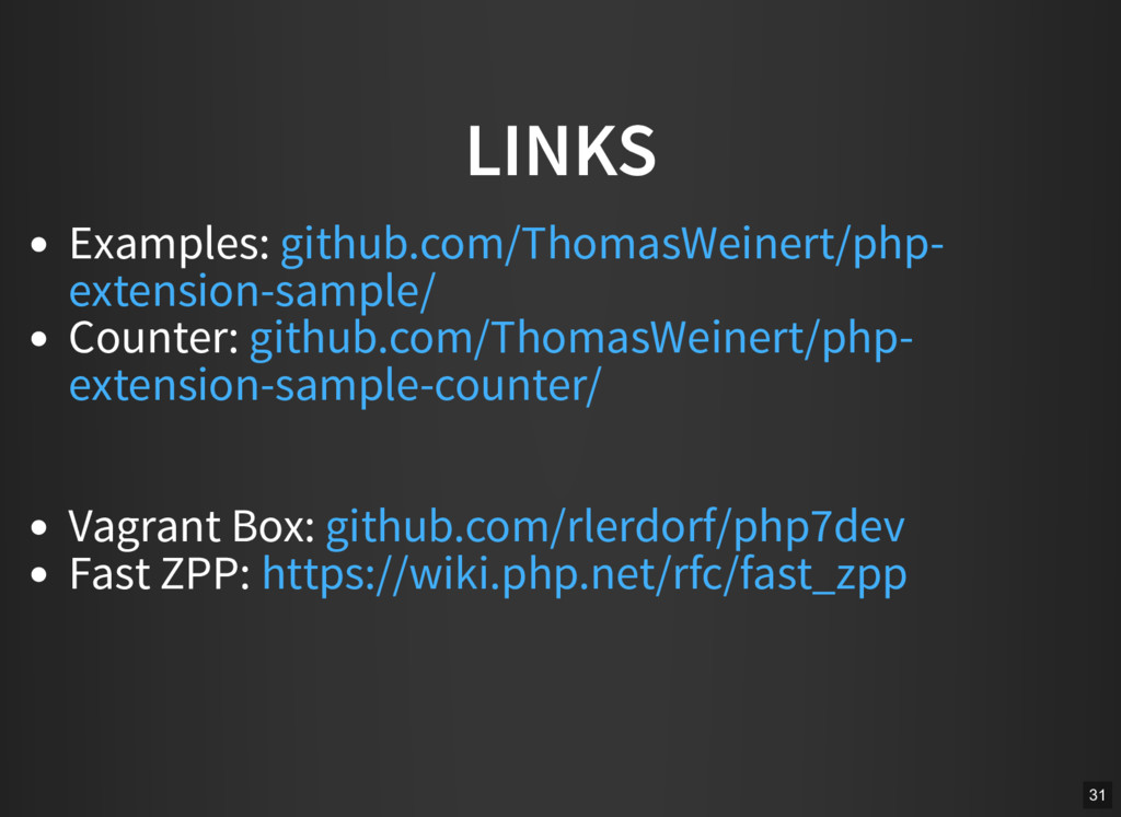 LINKS Examples: Counter: Vagrant Box: Fast ZPP:...