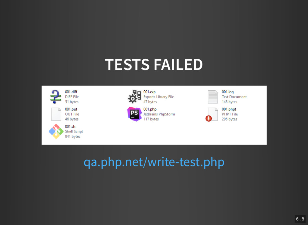 TESTS FAILED qa.php.net/write-test.php 6 . 8