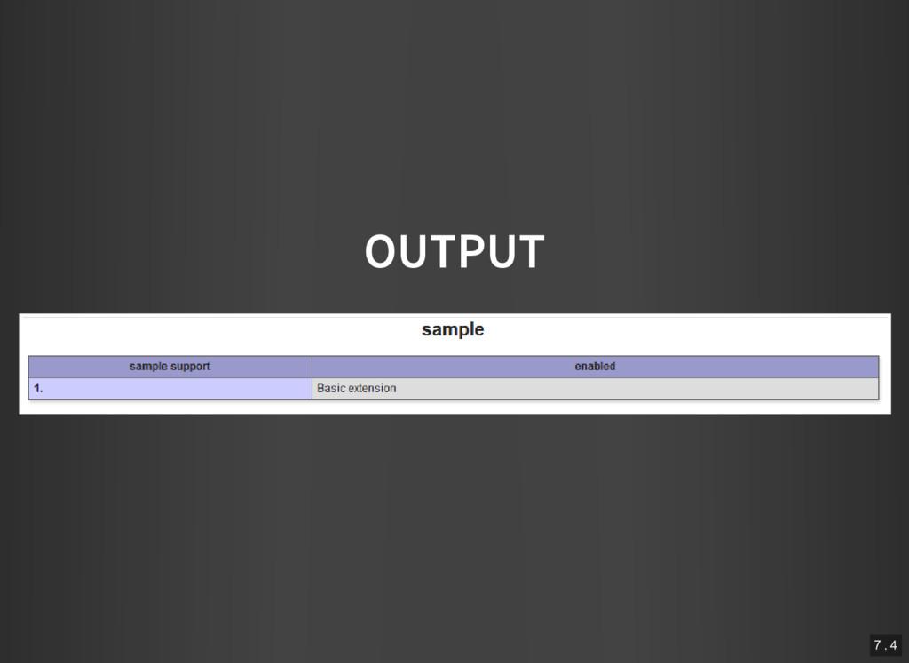 OUTPUT 7 . 4