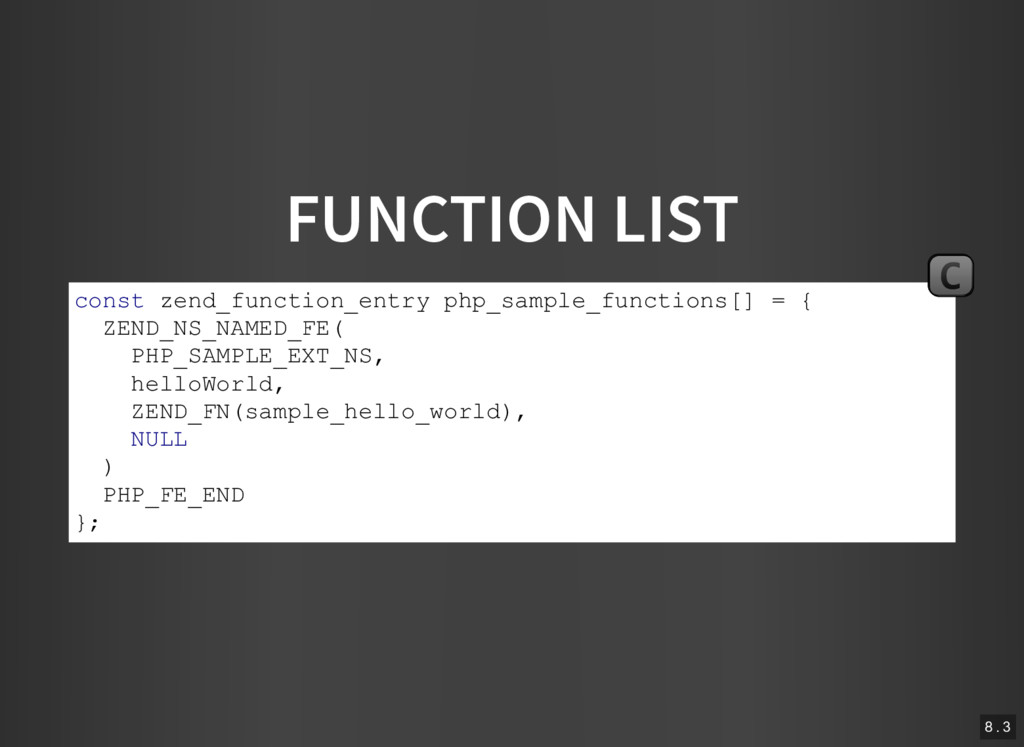 FUNCTION LIST const zend_function_entry php_sam...