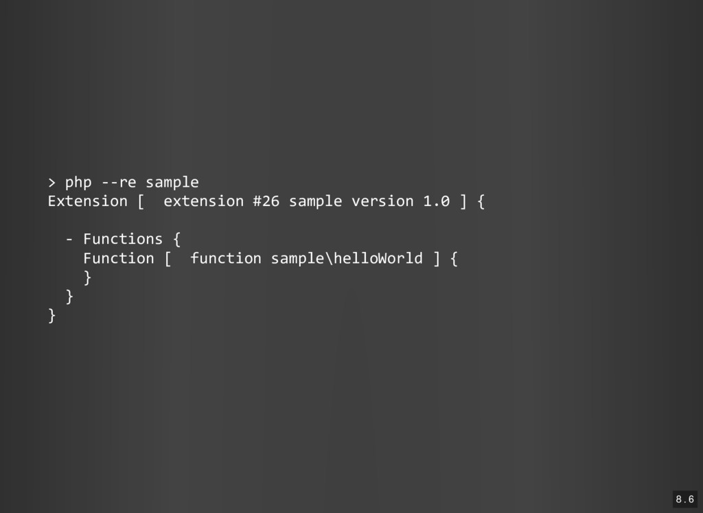 > php ‐‐re sample Extension [ extension #26 sam...