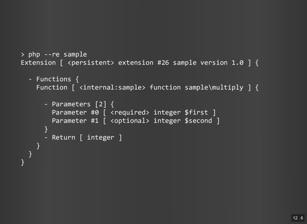 > php ‐‐re sample Extension [ <persistent> exte...