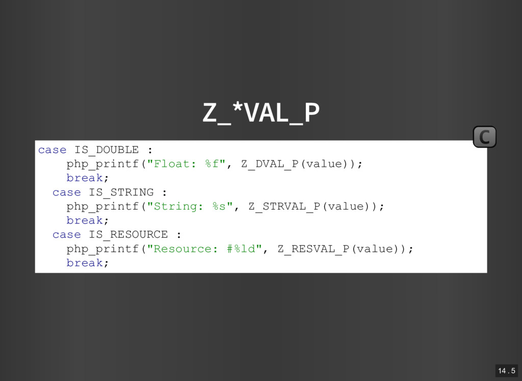 """Z_*VAL_P case IS_DOUBLE : php_printf(""""Float: %f..."""