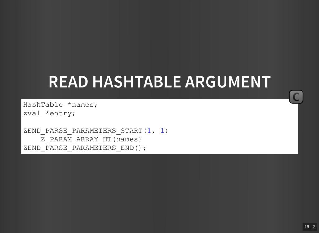 READ HASHTABLE ARGUMENT HashTable *names; zval ...