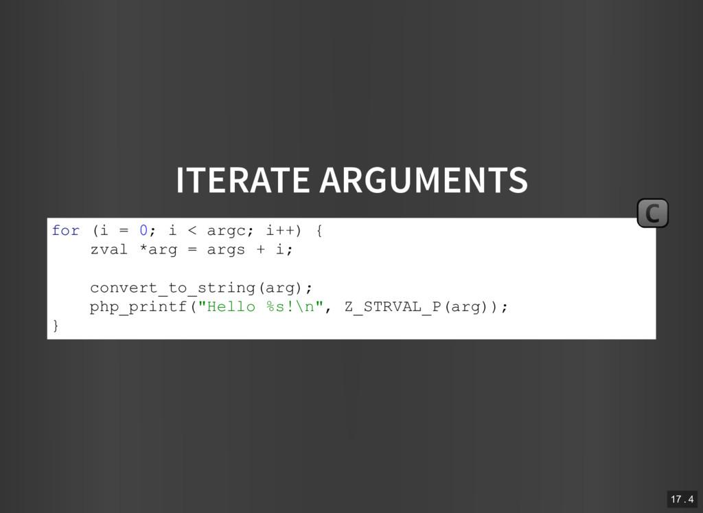 ITERATE ARGUMENTS for (i = 0; i < argc; i++) { ...