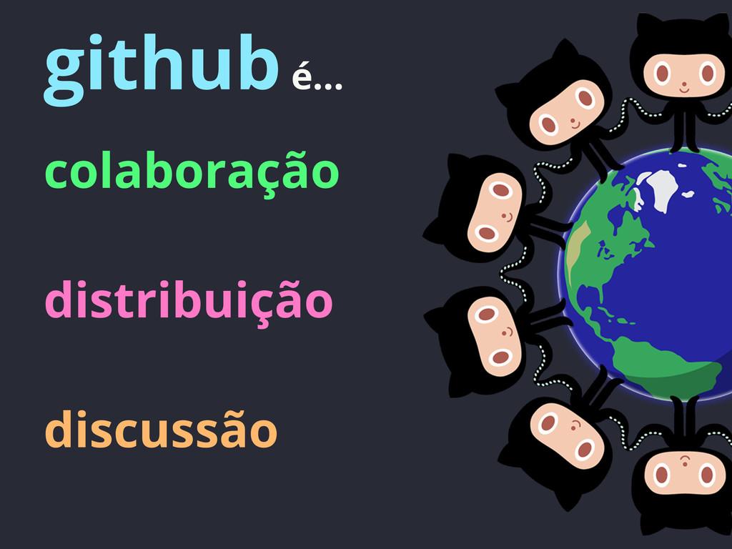 github é... colaboração distribuição discussão