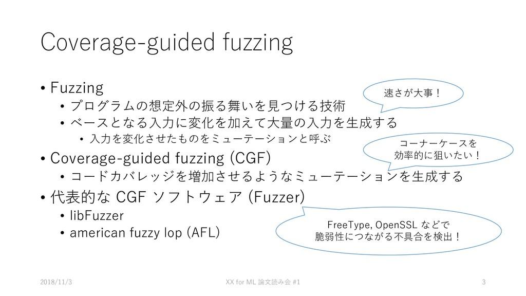Coverage-guided fuzzing • Fuzzing • プログラムの想定外の振...