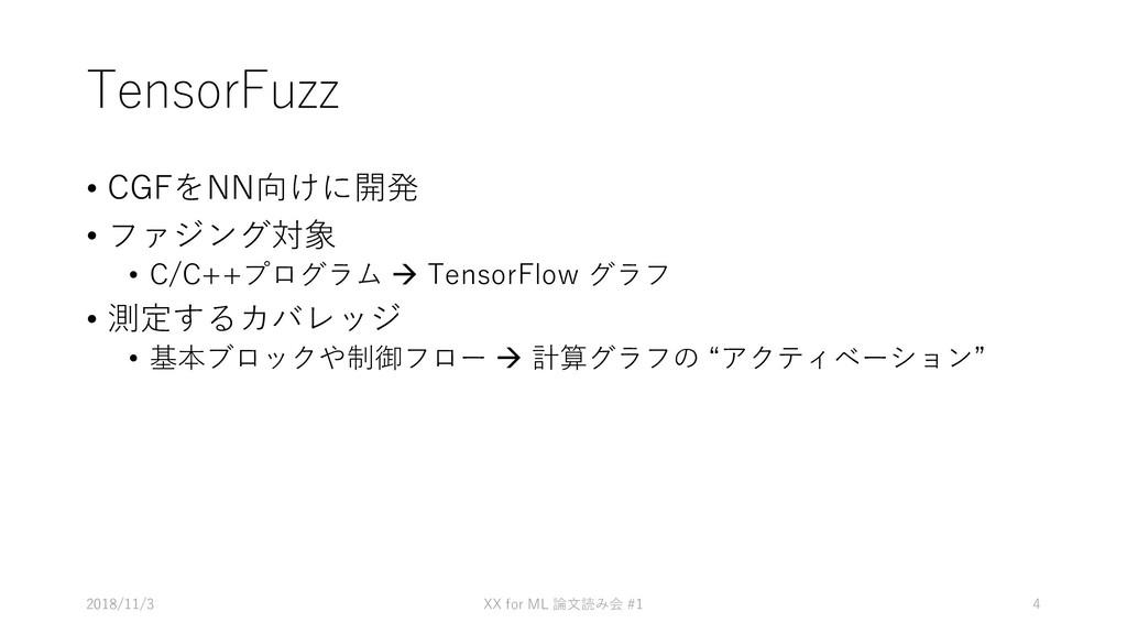 TensorFuzz • CGFをNN向けに開発 • ファジング対象 • C/C++プログラム...