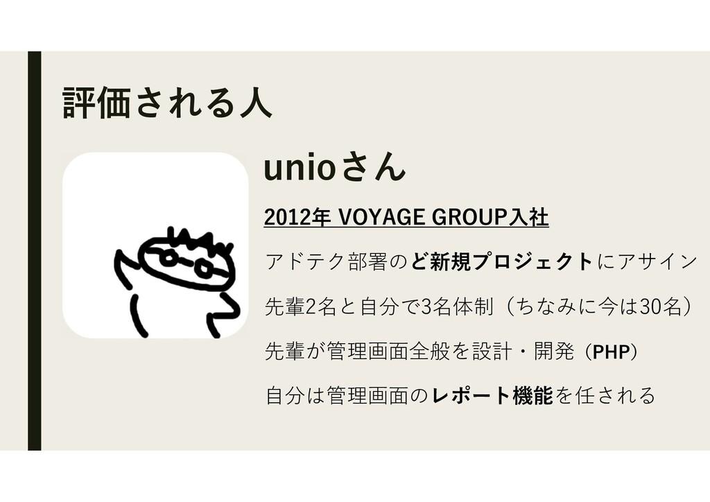 評価される人 unioさん 2012年 VOYAGE GROUP入社 アドテク部署のど新規プロ...