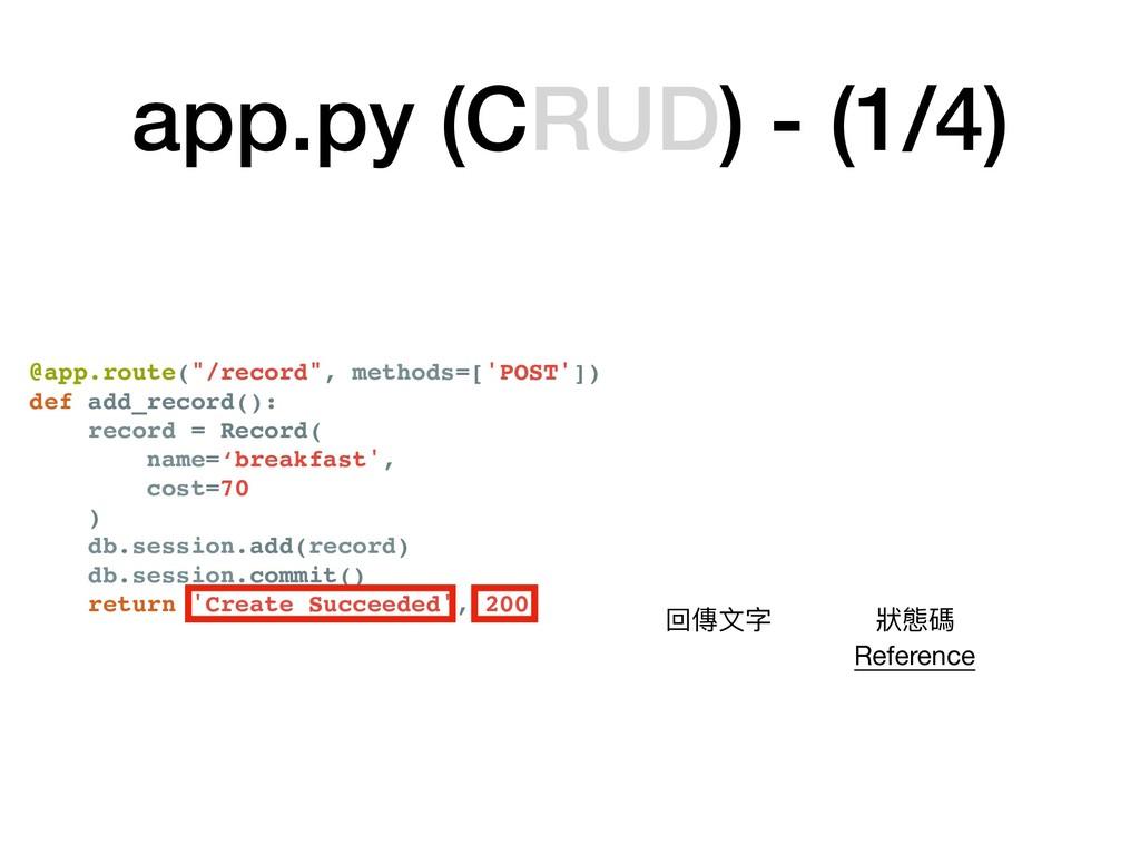 """app.py (CRUD) - (1/4) @app.route(""""/record"""", met..."""