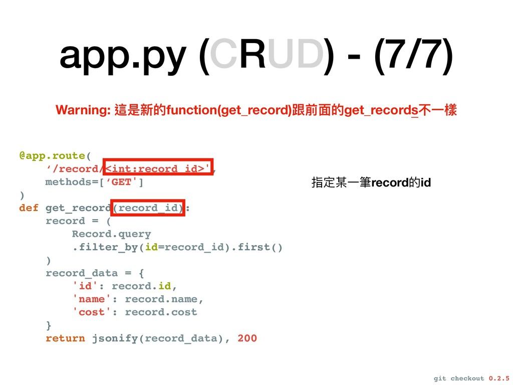 app.py (CRUD) - (7/7) @app.route( '/record/<int...