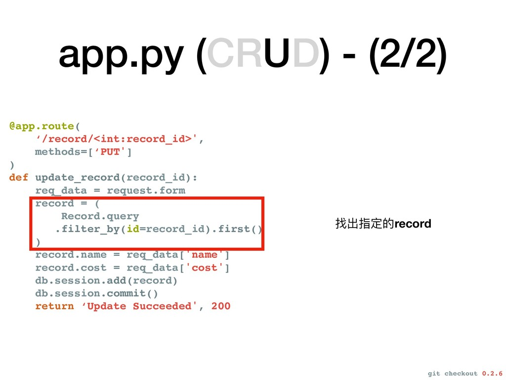 app.py (CRUD) - (2/2) @app.route( '/record/<int...