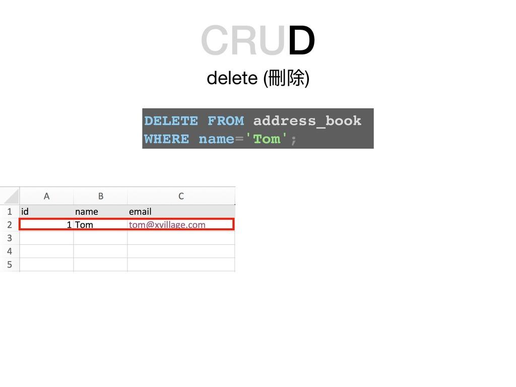 CRUD delete (刪除) DELETE FROM address_book WHERE...