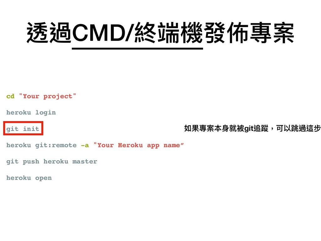 "cd ""Your project"" heroku login git init heroku ..."