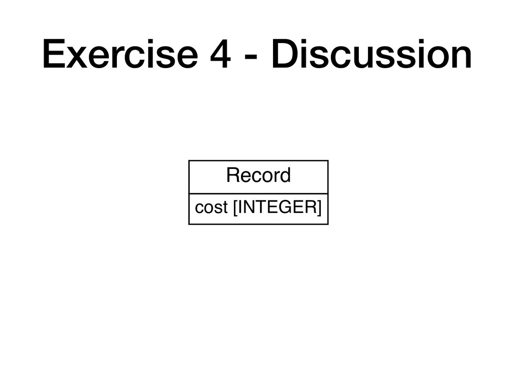 Exercise 4 - Discussion Record cost [INTEGER]