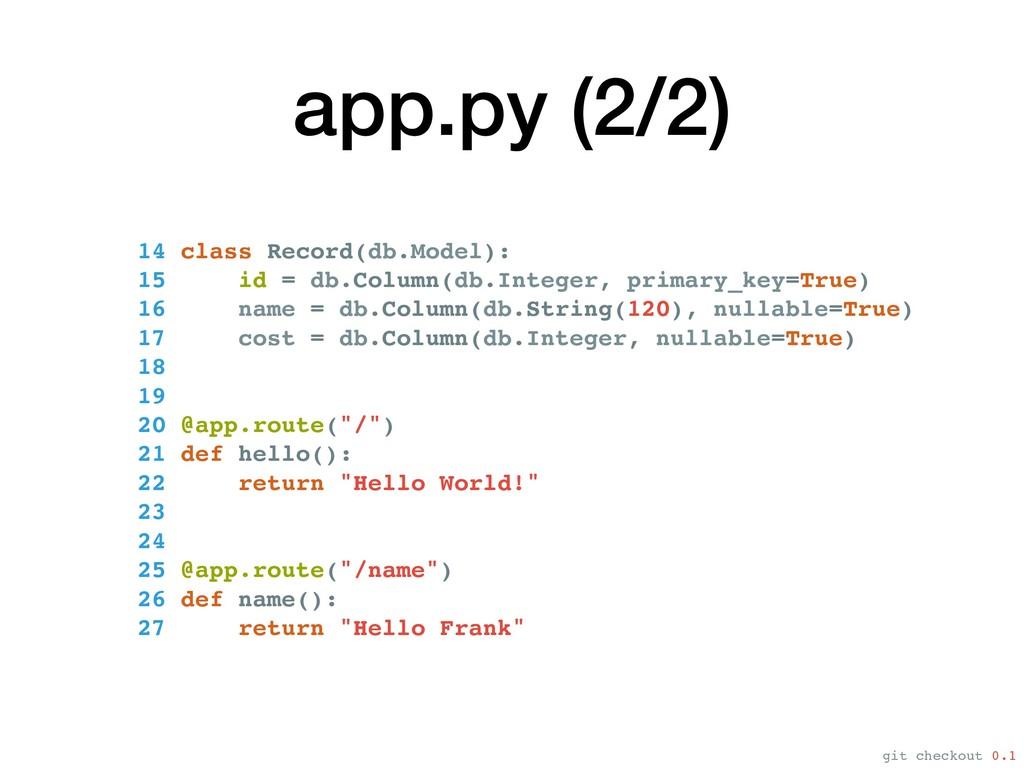 app.py (2/2) 14 class Record(db.Model): 15 id =...