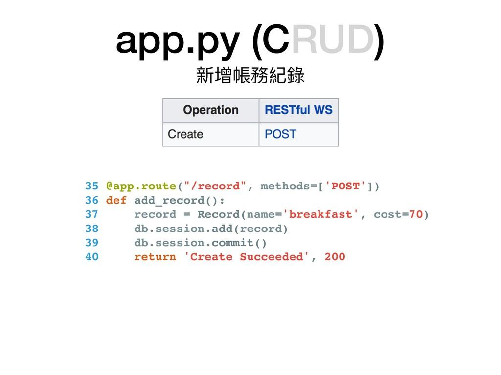 "app.py (CRUD) 新增帳務紀錄 35 @app.route(""/record"", m..."