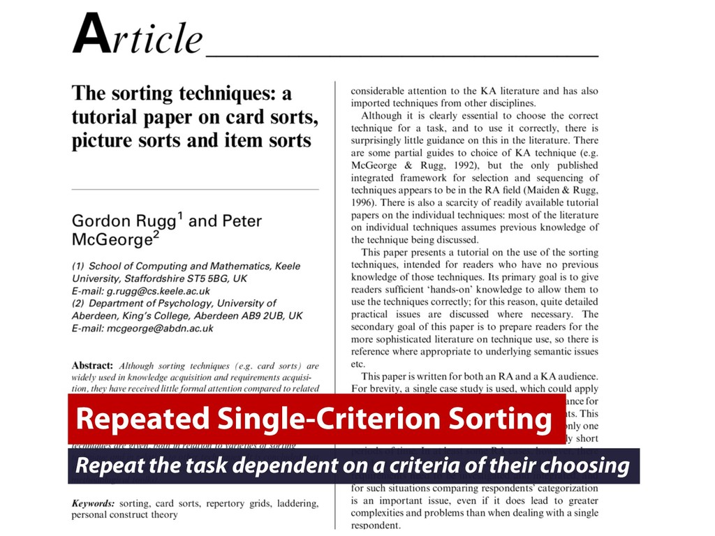 Repeated Single-Criterion Sorting Repeat the ta...