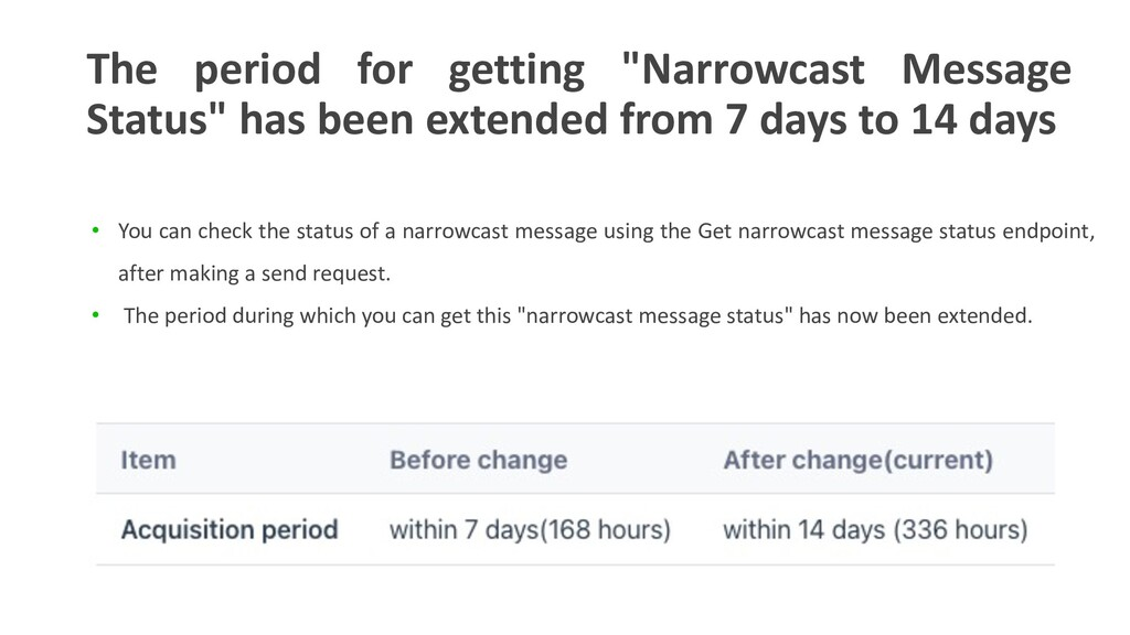 """The period for getting """"Narrowcast Message Stat..."""