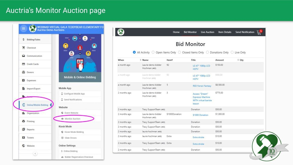 Auctria's Monitor Auction page