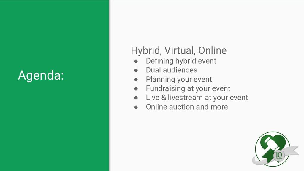 Agenda: Hybrid, Virtual, Online ● Defining hybri...