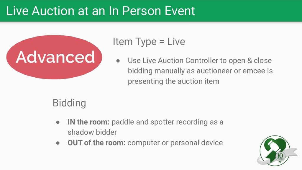 Live Auction at an In Person Event Item Type = ...