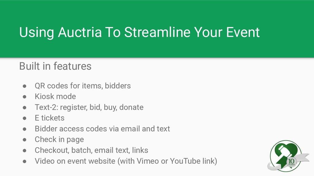 Using Auctria To Streamline Your Event Built in...