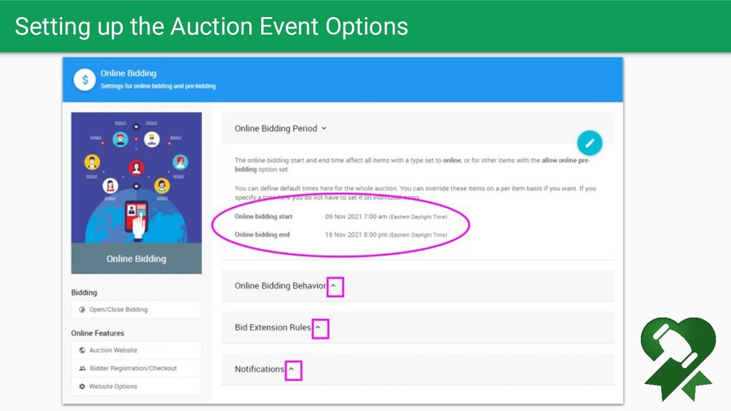 Setting up the Auction Event Options