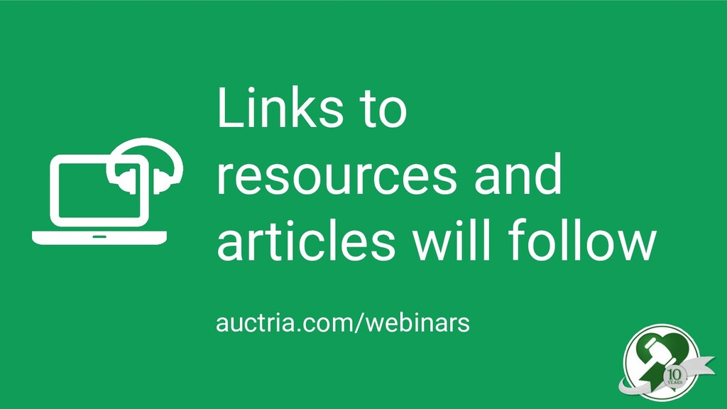Links to resources and articles will follow auc...