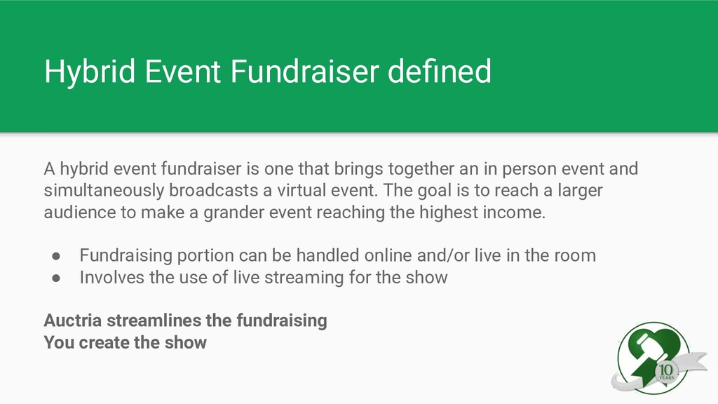 Hybrid Event Fundraiser defined A hybrid event f...