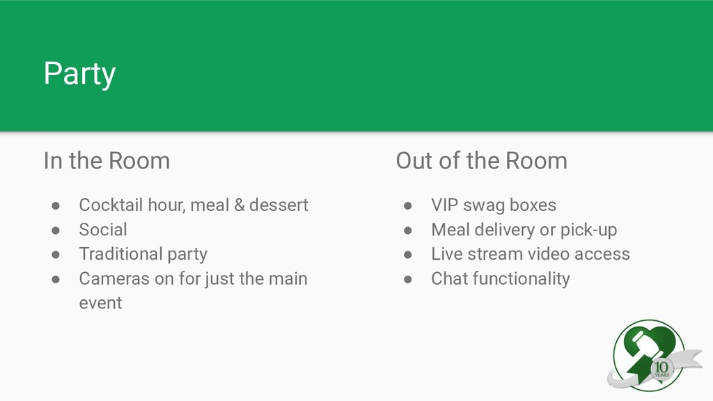 Party In the Room ● Cocktail hour, meal & desse...