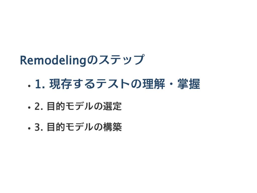 Remodelingのステップ 1. 現存するテストの理解・掌握 2. 目的モデルの選定 3....