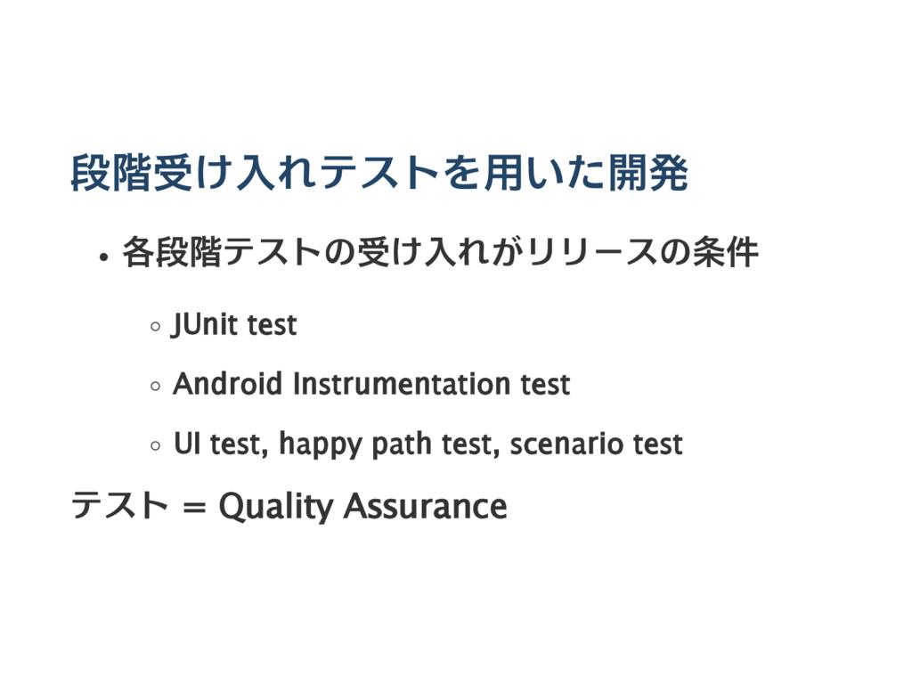 段階受け入れテストを用いた開発 各段階テストの受け入れがリリースの条件 JUnit test ...