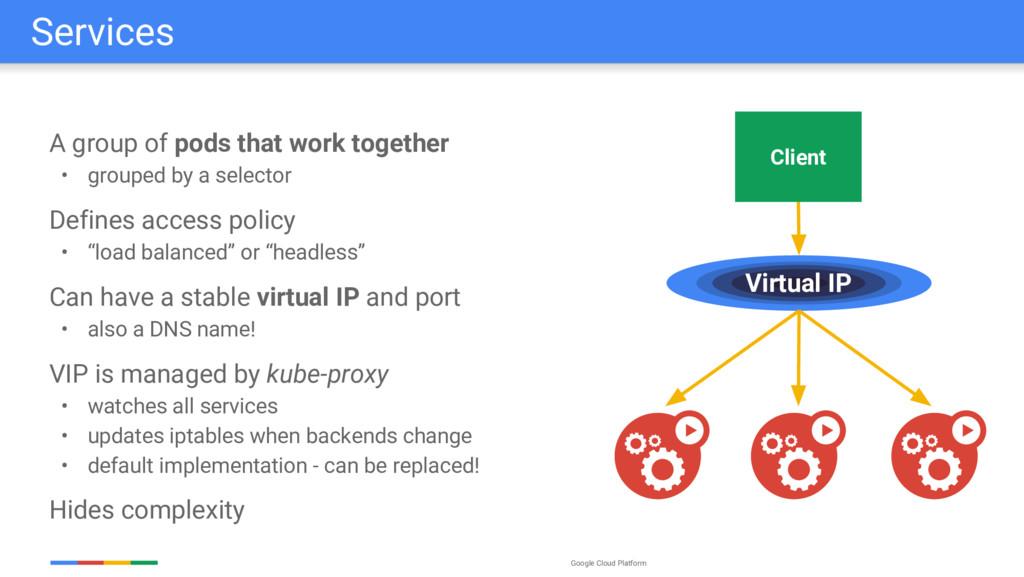 Google Cloud Platform A group of pods that work...