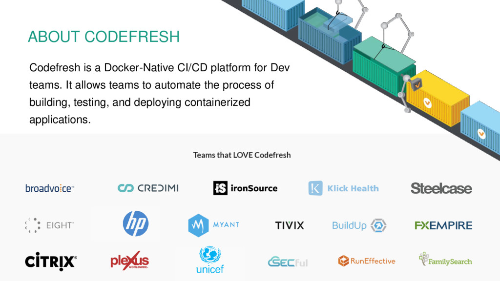 Codefresh is a Docker-Native CI/CD platform for...