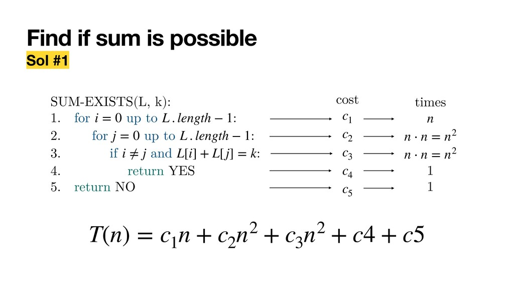 Find if sum is possible Sol #1 SUM-EXISTS(L, k)...