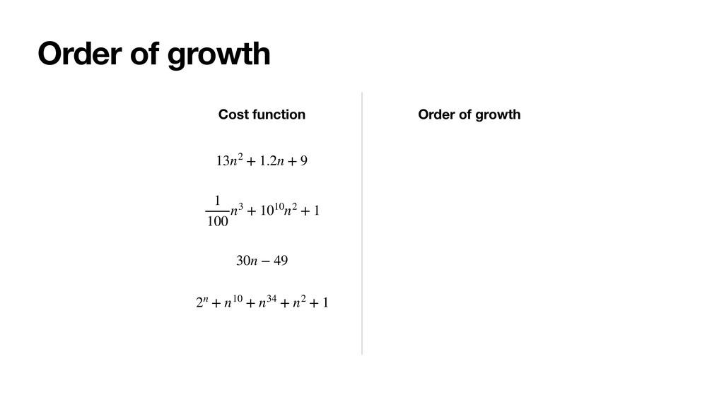 Order of growth 13n2 + 1.2n + 9 Cost function O...