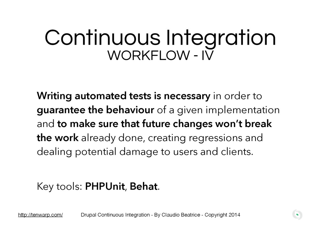 Continuous Integration WORKFLOW - IV ! Writing ...
