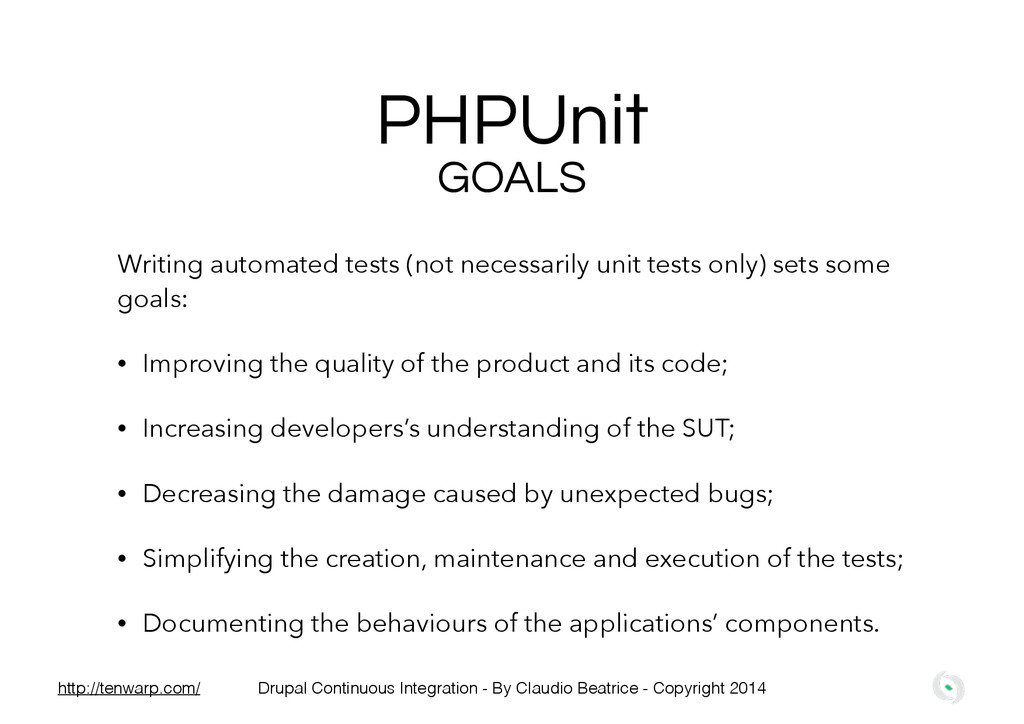 PHPUnit Writing automated tests (not necessaril...