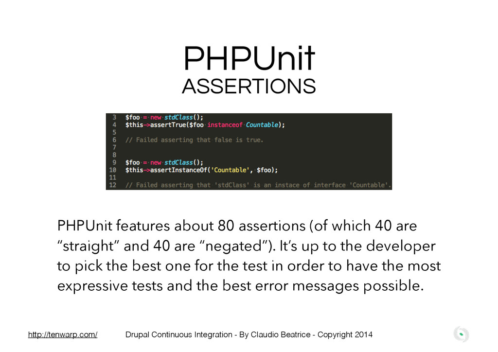 PHPUnit PHPUnit features about 80 assertions (o...
