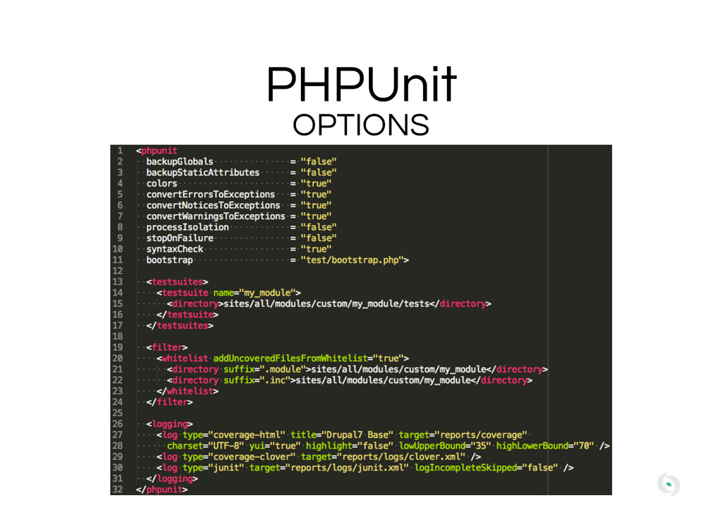 PHPUnit OPTIONS