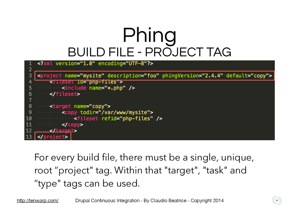 Phing BUILD FILE - PROJECT TAG For every build ...