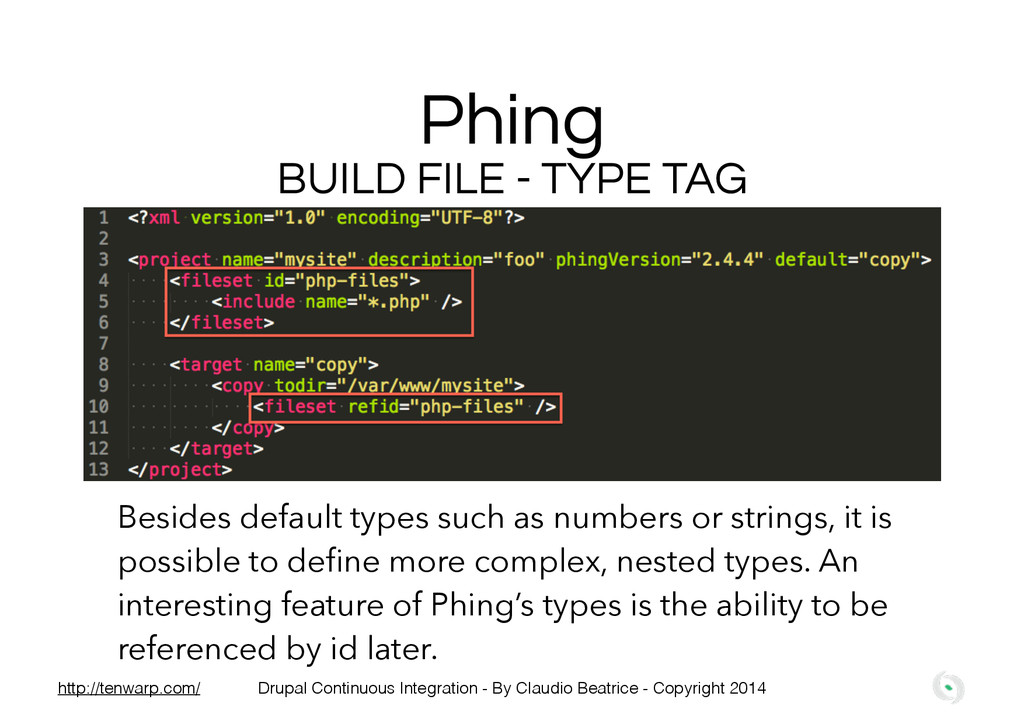 Phing BUILD FILE - TYPE TAG Besides default typ...