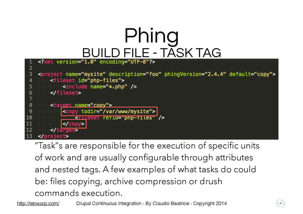 """Phing BUILD FILE - TASK TAG """"Task""""s are respons..."""